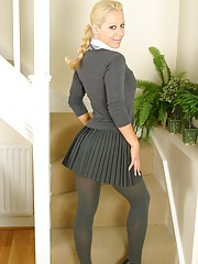 stockings blonde girl